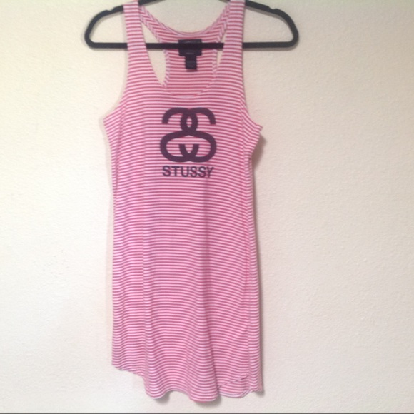 Stussy Dress Small Tank Racerback  Red And White